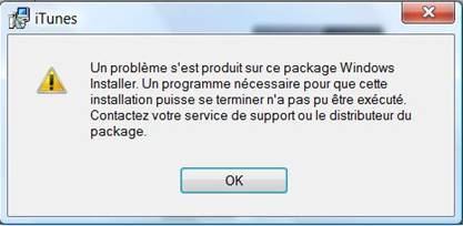 iTunes 10 5 - Installation impossible sous Windows 7 - Erreur