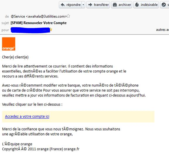 arnaque mail orange